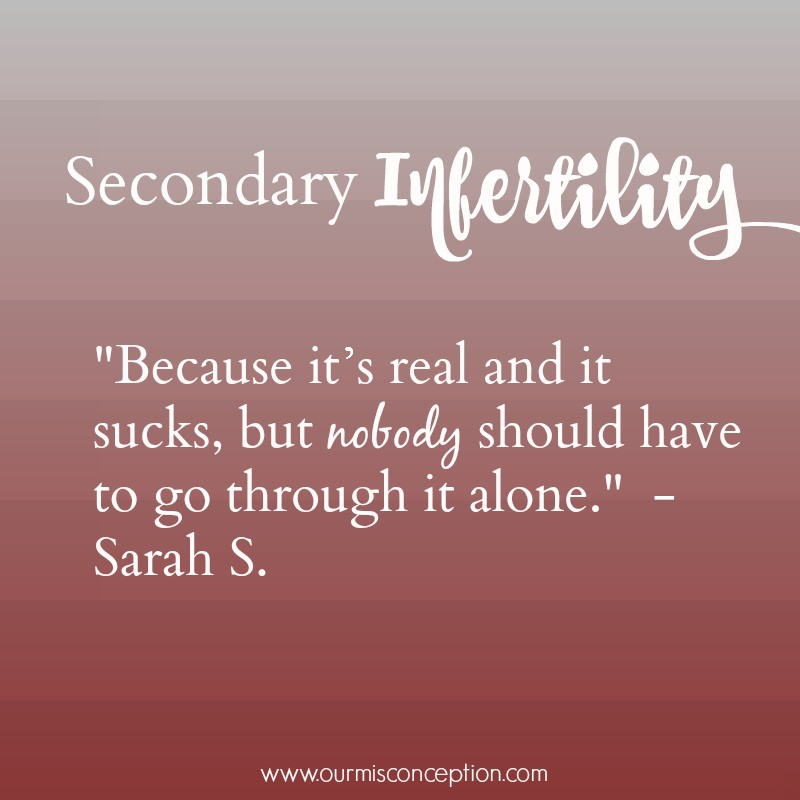 Sarah's Secondary Infertility  (Guest Post)